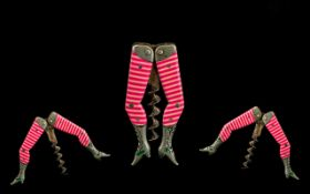 Antique Period Interesting German Late 19th - Century White Metal and Enamel Ladies Pink Striped