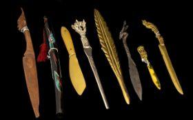 Collection of Vintage Paper/Letter Opener Knives. All different vintages, including vintage brass