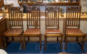Set of Four Early 20th Century Golden Oak Dining Chairs - carved back rail and barley twist