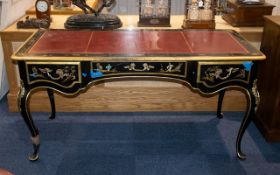 A French Louis XIV Style Writing Desk, Black Lacquered Chinoiserie Decorated Throughout Depicting