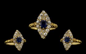 Edwardian Period Attractive and Quality 18ct Gold Marquise Shaped Sapphire and Diamond Ring.