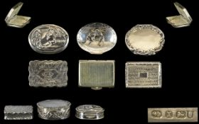A Vintage Collection of Six Silver Pill Boxes. All Fully Hallmarked for Silver, Various Shapes and