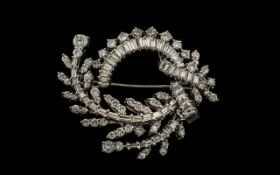 1950'S Period Signed and Stunning 14ct White Gold Baguette and Brilliant Cut Diamond Set Brooch of