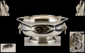 Elizabeth II - Pleasing Twin Lion Mask Handles Sterling Silver Footed Bowl with Shaped Border and