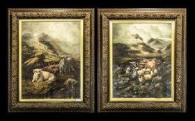 Pair of Early 20th Century Large Oils in Canvas both mounted and framed behind glass and both