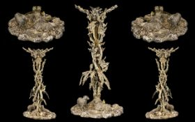 Antique Silver Plated Centrepiece, Realistically Modelled In The Form Of A Tree. Leaves, Branch
