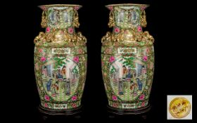 Chinese Early 20th Century Huge and Impressive Pair of Floor Standing Famille Rose Vases,