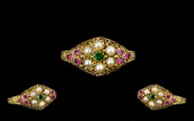 Antique Period - Attractive Seed Pearl and Ruby Ornate Set Dress Ring. The Setting and Shank of