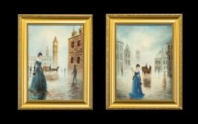 A Pair of Oil on Board Street Scenes depicting a lady in blue with coach and horses in the rear of