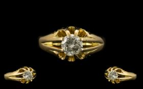 18ct Gold - Gents Pleasing Stone Diamond Ring -Gypsy Setting. Full Hallmark for 18ct, Good