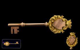 Edwardian Period 9ct Gold Presentation Key - In Original Presentation Case. Full Hallmark for 9.375.