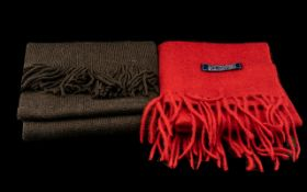 Jasper Conran Unisex Scarf brown with fringing; together with Lochmere 100% cashmere red long scarf,