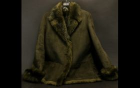 Ladies Sheepskin Three-Quarter Length Jacket in lovely dark brown with fur lining. Pockets and