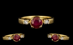 18ct Gold Top Quality Burmese Ruby and Diamond Set Ring marked 18kt. The Burmese natural Ruby of