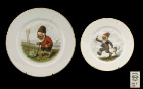 Thomas Germany Hand Painted Gnome Plates. Vintage Thomas Germany hand painted plates depicting Gnome