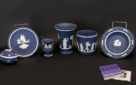 Wedgwood Portland Blue Assorted Pieces. Includes boxed vase 5.75'', Garden Pot, Miniature Vase,