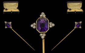 Victorian Period Nice Quality Gold Stick Pin Set with a Single Amethyst, Surrounded by Old Cut