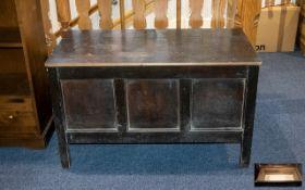 An Early 20thC Panelled Side Linen Box hinged top of typical form on square supports. Height 25