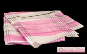 Vintage Christian Dior Silk Scarf in pink and white geometric design, measures 106 x 43 cm. Logo