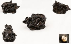Fine Quality Japanese 19th Century Edo Period Carved Netsuke of Humours Nature, Depicts - Two Little