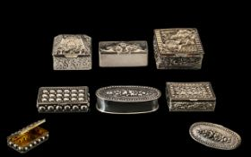 A Collection of Ornately Decorated Vintage Silver Pill Boxes From The 1970's and 1980's ( 6 ) In