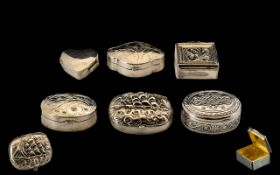 A Nice Collection of Vintage and Modern Silver Pill Boxes ( 6 ) In Total. Different Shapes and