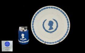 Wedgwood Blue Jasper Silver Jubilee Coronation Plate H.M. Queen Elizabeth II 1953-1978; also