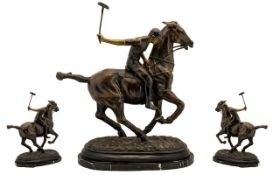 Contemporary Nice quality Huge and Impressive Bronze Sculpture/Figure - Polo player and horse in