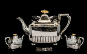 Arts and Crafts - Design Superb Quality Solid Silver Teapot of Pleasing Proportions and Design.