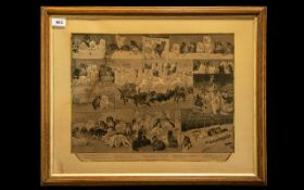 Louis Wain Kitten Print Picture mounted and framed behind glass. Measures 24'' x 20'' approx,