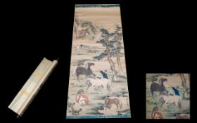 19th/Early 20thC Chinese Scroll the painted landscape depicting horses and rearers, character