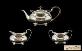 George V - Nice Quality 3 Piece Silver Tea Service of Pleasing Form, Comprises Teapot, Milk Jug