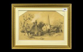 Framed and Glazed Pencil Sketch signed J E Rush 1882 lower left. 'Country Church and Cottage