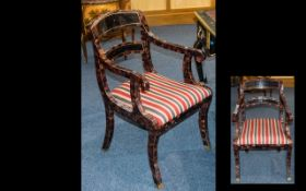 A Modern High Lacquered Arm Chain- Desk Chair. The Frame with Marble Mosaic Finish Stripe Padded