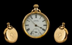 American Watch Co Waltham 14ct Gold Open Faced Keyless Pocket Watch. c.1900 - 1910. Features White