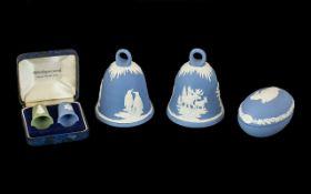 Wedgwood Blue Jasper Commemorative New Year's Bells. 1979-1981. Also include Wedgwood Blue Jasper
