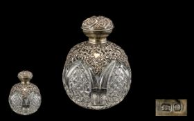 Edwardian Period Attractive Ladies - Silver Ornate Open Worked Collared Cut Glass Globular Shaped