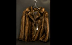 Ladies Mink Jacket in rich brown, by Koe-Bel Furs of Southport, with collar and reveres, and two