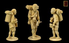 Japanese Meiji Period Excellent Carved Ivory Figure of a Japanese Male Woodcutter, Red Seal to