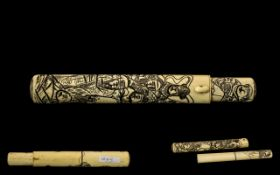 Japanese 19th Century Ivory Bone Chopstick Holder and Cover, Decorated with Carved Figural Images of