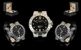Bvlgari - Stainless Steel Diagono Scuba SD38S Automatic Chronometer Wrist Watch, Powered by a Cosc