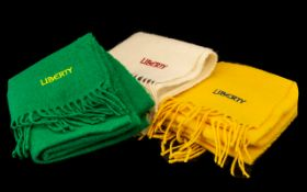 Three Liberty Winter Scarves 100% wool, one each of yellow, green and white with fringes. Approx