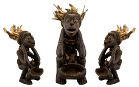 Antique Zombie Songye African Carved Fetish Figure. Hardwood figure with nice patina, with feather