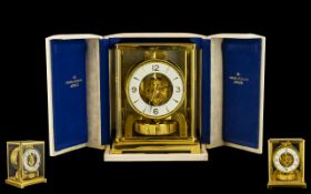Jaeger Le Coultre Atmos Classique Gilt Bronze Clock of Wonderful Quality In Original Jaeger Le