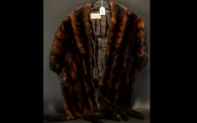 Dark Brown Mink Stole with Tails. Short collared stole with five tails each side, from Springs of