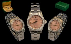 Rolex - Ladies Steel Oyster Perpetual Wrist Watch, with Afterset Full Diamond Bezel, Features pink