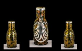 Art Nouveau Silver Malted Glass Vase with Sterling Overlay to body of vase. Excellent Design, Marked