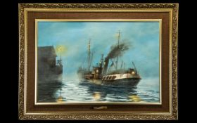Keith Sutton 1924 -1991 Fleetwood Trawler Newby Wyke - Hull at Dock - Evening Oil on Board. Signed