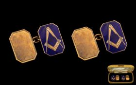 Masonic Interest. A Gents 9ct Gold Pair of Cufflinks Decorated with Blue Enamel and Gold Overlay,