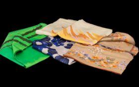 Collection of Four Vintage Silk Scarves. Includes Stuart Edmonds vintage 27'' square in peach,